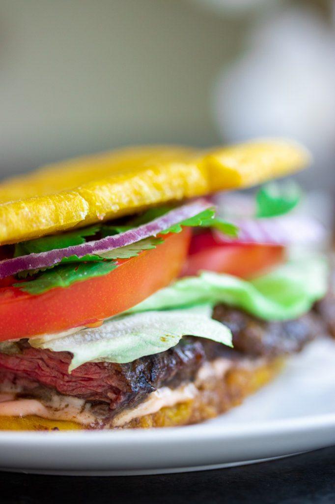 plantain jibarito sandwich with churrasco steak tomatoes onions lettuce mayo ketchup cilantro