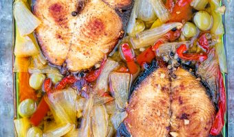 pescado en escabeche pickled king fish puerto rican caribbean recipe in glass container